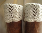 Boot Toppers - Soft White Scalloped Feather & Lace