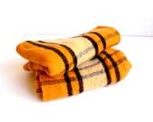Pair Vintage Camp Blankets ... Orange, Black, Plaid, Cottage, Cabin, Tangerine