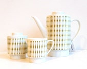 Vintage Melitta Coffee Pot, Sugar and Creamer Set in White and Green, Mod