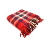 Vintage Red Plaid Wool Fringed Blanket ... Navy, Hunter Green, White, Laptop