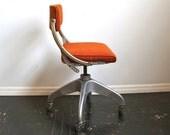 Vintage Industrial Orange Office Chair ... DoMore, Desk Chair, Do/More, MCM, Excellent Condition