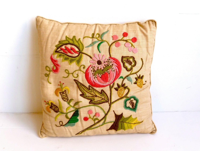 Vintage jacobean embroidery crewel pillow on irish linen