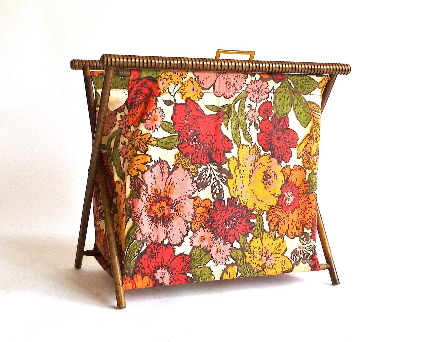 Knitting Bag : Vintage Knitting Bag ... Standing Folding Floral by cushionchicago
