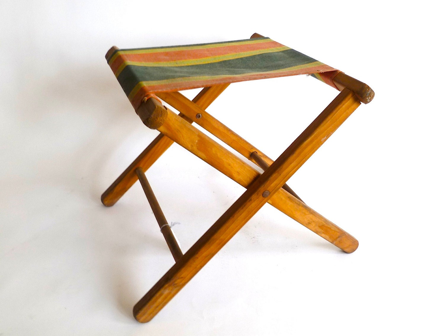 Vintage Small Folding Wood And Canvas Camp Stool Stripes