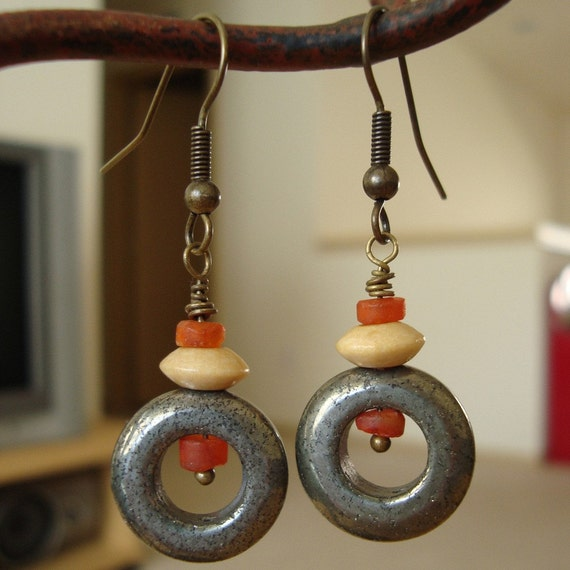 pyrite circles with wood disc and carnelian heishi