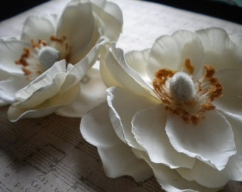 Gardenia Flower Clips  - Set of 3