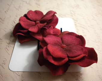 Red Velvet Flower Hair Pins: Floral Hydrangeas + Alligator Clip + French Barrette + Silver Comb + Bobby Pin + Bridal + Party Favor