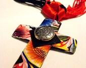 Artzy Cross Necklace - Reversible - Mixed Media