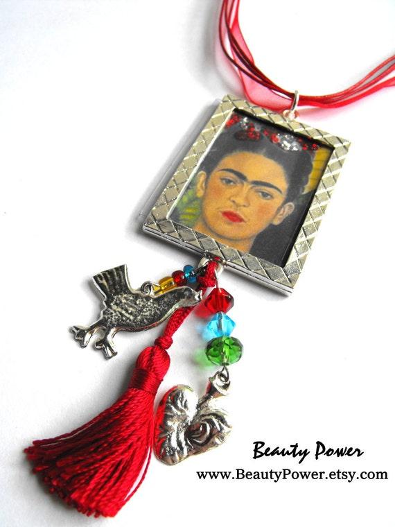 Red Frida Kahlo Necklace