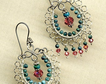 Turquoise and Padparadscha Swarovski Crystal Chandelier Earrings