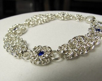Argentium Silver Chain Maille Bracelet using Variations of Byzantine Weave