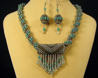 Teal and Gold Chunky Spiral Weave Necklace with Fringe Bead and Beaded Bead Earrings