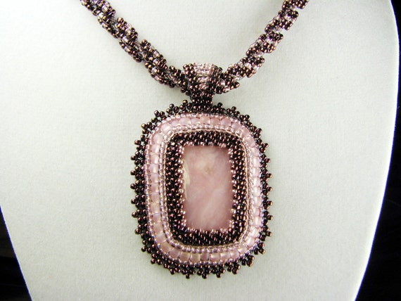 Pink Opal Cabochon Beadwork Pendant with Spiral Weave Rope Necklace