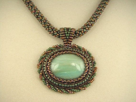 Beadwork Pendant with Amazonite Cabochon on a Russian Spiral Weave Necklace