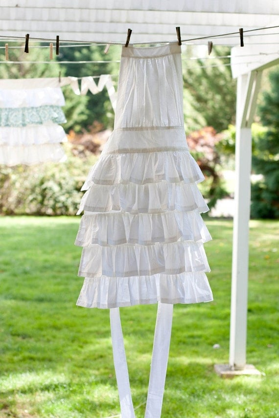 Romantic Ruffled White Apron