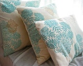 Set of Three Handmade Vanilla and Duck egg blue Cushion Covers, Slip covers, throw pillows, decorative cushions, accent pillows