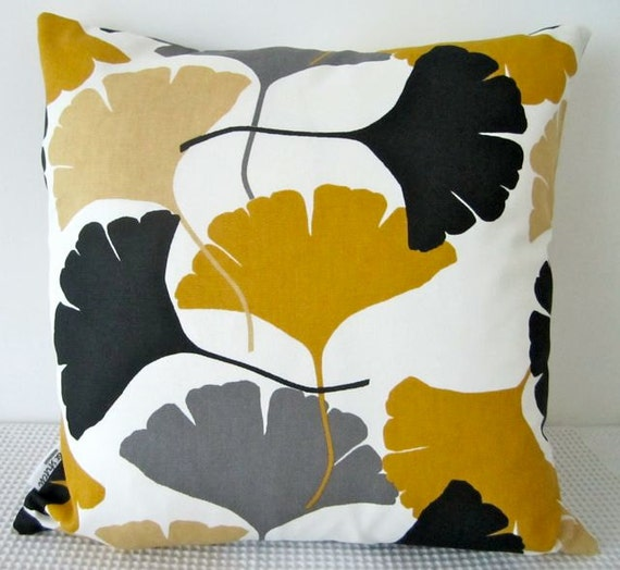 Black White And Yellow Throw Pillows : Ginkgo leaf motif retro mustard yellow white grey by miaandstitch