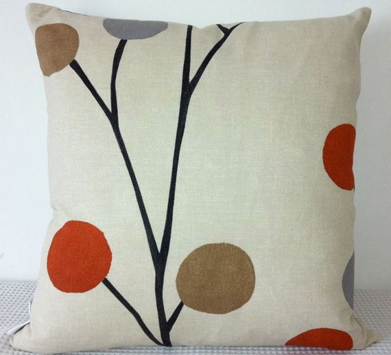 Floral retro burnt orange grey and black cushion by