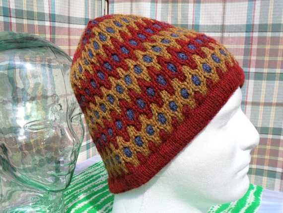 Large men's fair isle cable knit stocking cap in red, gold and lavender