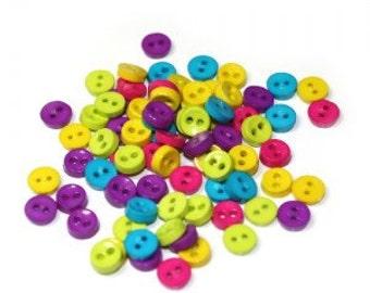 Mini Plastic Buttons /Two Holes Buttons/ Sewing Supplies/DIY Craft supplies /Novelty Buttons / Kids craft supplies