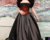Black Pleated Satin Steampunk Victorian Gothic  Skirt