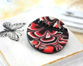 Black red brooch from polymer clay - red and black jewelry OOAK - mother's day gifts, love, passion, gift idea for her, girl - ready to ship