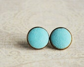 Mint earrings small ear studs texture tiny jewelry - blue mint earrings, sky blue earrings, gifts idea for her for girl  - made to order