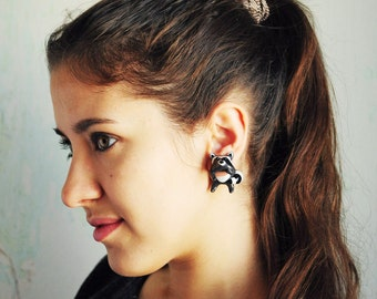 Raccoon Ear Jackets fake gauges - raccoon earrings, cute animal earrings, fun earrings, ear jackets gray, gift for her girl - made to order