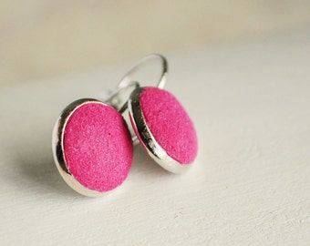 Pink earrings from polymer clay - neon earrings, pink jewelry texture, fresh ice cream, gift idea for her, girl  - ready to ship