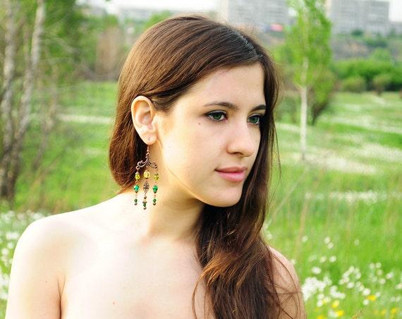 Green earrings from Czech glass - green earrings, emerald earrings, dark green, garden, for girl for her - ready to ship