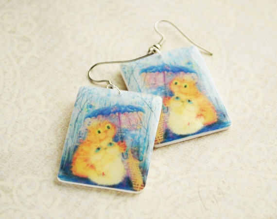 Two cats in the rain earrings from polymer clay - blue yellow earrings, love, gift idea for her, girl, ivory, blue sky - ready to ship