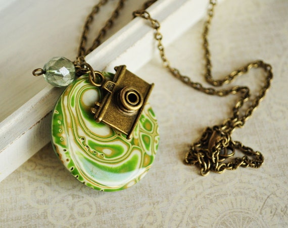 Green pendant on a long chain from polymer clay OOAK - green necklace, travel, nature, photo camera, gift for her - ready to ship