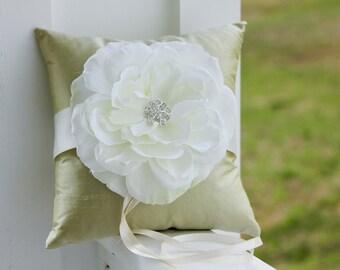 Green Ring Bearer Pillow, off white ring pillow, white garden rose