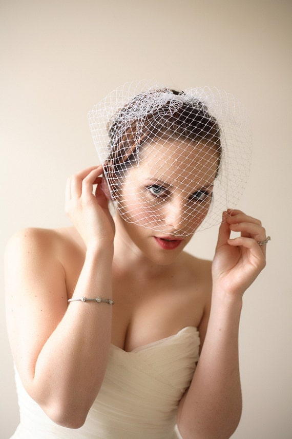 Ivory or White Full Side Blusher Birdcage Veil on a Comb Fascinator