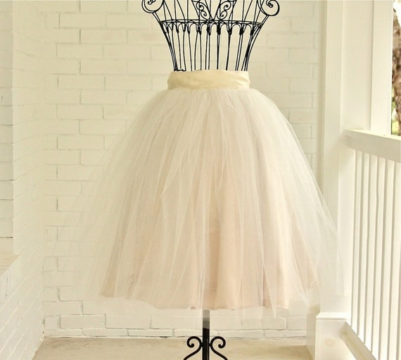 tea length skirt, Champagne Tutu, ivory tutu, chic tutu, WEDDING Bridesmaids Mother of the Bride Special Occasions
