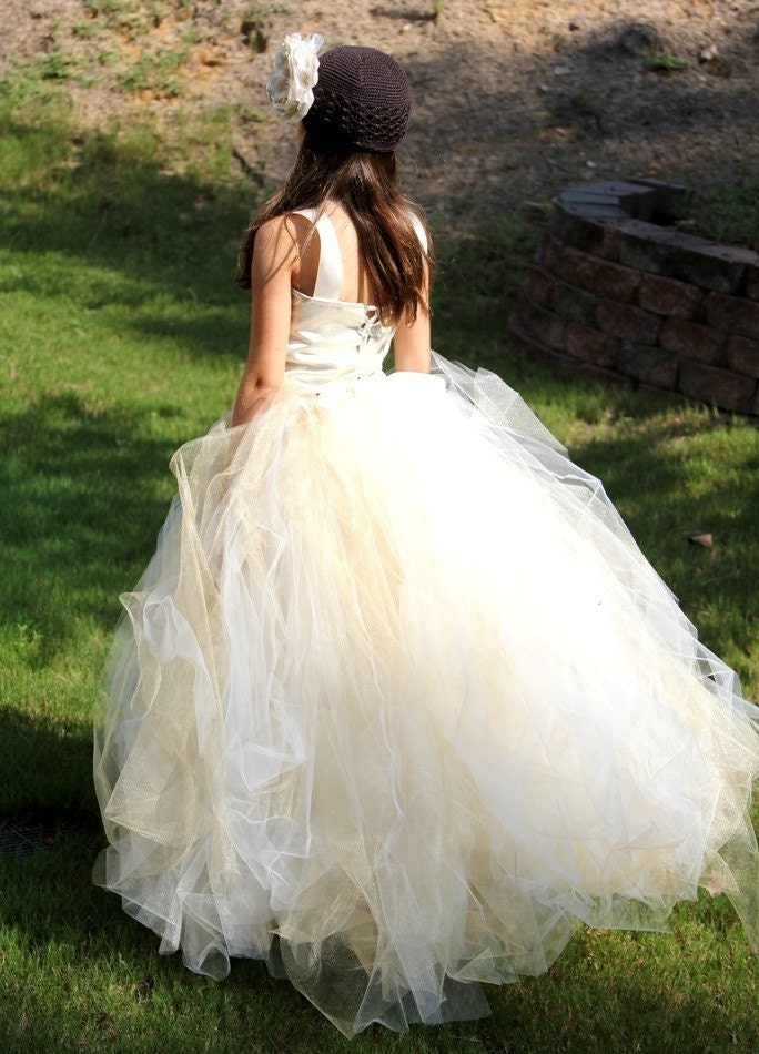 tutu dress ivory with a hint of gold flower girl by