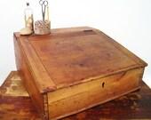 RESERVED Antique Slanted Wood Writing Desk Top
