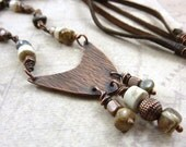 Rustic Necklace Copper Leather Earth Tone Gemstones Casual Textured Boho