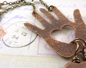 Assemblage Necklace Hand Heart Steampunk Charm Etched Copper Brass Chain Key Gears