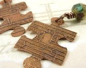 Puzzle Earrings Etched Copper Sheet Music Green Czech Glass
