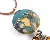 Teal Blue Copper Necklace Artisan Lampwork Pendant Bronze Mixed Metal