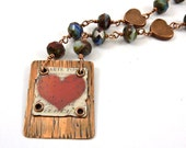 Red Heart Necklace Copper Resin Collage Pendant Czech Beads Cold Connected
