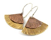 Mixed Metal Triangle Earrings Hammered Textured Shape Copper Brass Silver Metalsmith