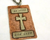 Inspirational Necklace Bible Verse Copper Nickel Mixed Metal Cross Be Still and Know Pendant