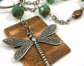 Dragonfly Necklace Etched Copper Music Aqua Blue Czech Beads Mixed Metal Silver Nature Jewelry Insect Charm