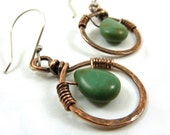 Turquoise Earrings Copper Hammered Rings Wire Wrapped Rustic Southwestern Green