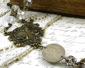 Vintage Assemblage Necklace Brass Stamping Key British Coin Clear Faceted Beads