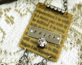Hope Faith Love Assemblage Necklace Cross Christian Etched Brass Bling Rhinestones Vintage Style Long