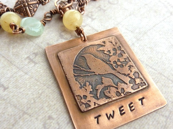 Bird Necklace, Etched Copper Pendant, Tweet, Blue Amazonite, Yellow Jade Stone, Nature Inspired, Spring, Summer