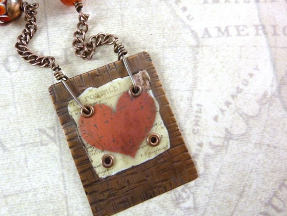 Resin Collage Necklace Red Heart Copper Pendant Lampwork Beads Stamped Tag